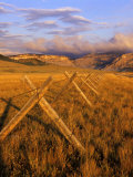 Fence Line Rocky Mountain Front near Choteau  Montana  USA
