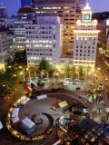 City Lights from Above Pioneer Courthouse Square in Downtown Portland  Oregon  USA