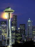 Space Needle and Full Moon  Seattle  Washington  USA