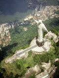 Aerial of Corcovado Christ Statue and Rio de Janeiro  Brazil