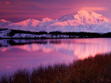 Mt Denali at Sunset From Reflection Pond in Denali National Park  Alaska  USA