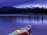 Canoe and Lantern on Banks of Sparks Lake  Cascade Range  Oregon  USA