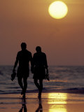 Couple Walking on Beach at Sunset  Sarasota  Florida  USA