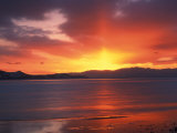 Sunset over Farmington Bay  Great Salt Lake  Utah  USA
