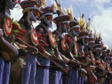 Highlands Warrior Marching Performance at Sing Sing Festival  Papua New Guinea