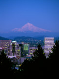 Night View of Downtown and Mt Hood  Portland  Oregon  USA