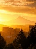 Sunrise on Mt Hood and Downtown  Portland  Oregon  USA