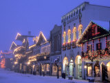 Main Street with Christmas Lights at Night  Leavenworth  Washington  USA