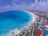 Scenic of Beach with Hotels  Cancun  Mexico