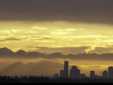 Seattle Skyline and Olympic Mountains  Washington  USA