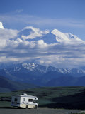 Mt McKinley and RV  Denali National Park  Alaska  USA