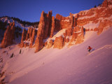 Skier Enjoys Alpenglow  Cedar Breaks National Monument  Utah  USA