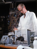 Experimental Psychologist B Frederic Skinner Training Brown Rats in a Skinner Box