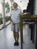 Ernest Hemingway on the Balcony of Bill Davis's Home Near Malaga