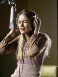 Actress Peggy Lipton in a Recording Studio