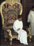 King Hassan Ii Sitting on Royal Throne During the Ceremony of His Installation as King of Morocco