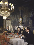 Sophia Loren Entertaining Vittorio de Sica  His Wife and Marcello Mastroianni in Formal Dining Room