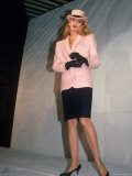 Model Jerry Hall Displaying an Outfit During a Fashion Show