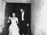 "Jimmy Stewart Escorting Olivia deHavilland After Winning Oscar for Best Actress in ""The Heiress"""