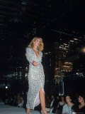 Model Jerry Hall Walking Runway at a Fashion Show