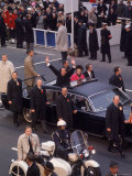 Surrounded by Secret Service  President Richard M Nixon Waves from Limo on the Way to Inauguration