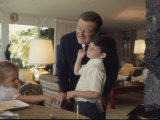 Actor John Wayne at Home with His Son Ethan and Daughter