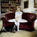 "Child Actress Hayley Mills in Old Fashioned Dress with Spaniel at Making of Film ""Pollyanna"""
