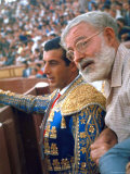 Bullfighter Antonio Ordonez in Bull Ring at El Escorial with Novelist Ernest Hemingway