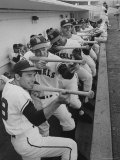 Los Angeles Angels Players Albie Pearson and Bill Moran in Dugout at Stadium During Practice