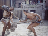 "Actor Woody Strode Squaring Off Against Actor Kirk Douglas in Gladiator Battle in ""Spartacus"""