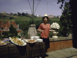 Sophia Loren Having Lunch on a Second Floor Terrace of Her Villa