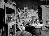 Japanese American Sculptor Isamu Noguchi in His Workshop