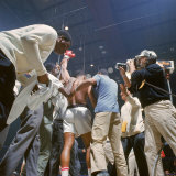 Boxer Cassius Clay  aka Muhammad Ali  Raising Fist in Triumph After Beating Sonny Liston