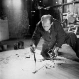 Painter Jackson Pollock Working in His Long Island Studio Adjacent to His Home