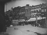 People on Fulton St  Including Horse Drawn Ice Truck  Construction of Elevated RR