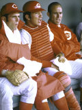 Cincinnati Redlegs' Bernie Carbo and Catcher Johnny Bench Sitting in Dugout