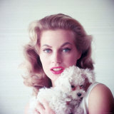 Portrait of Swedish Born Actress Anita Ekberg Holding Small Dog