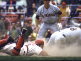 Cincinnati Redlegs' Catcher Johnny Bench Tagging Runner in Game Against San Francisco Giants