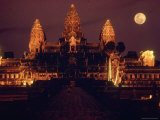 Full Moon over Angkor Wat Temple Ruins of Ancient Khmer Kingdom with Stupas Rising Above