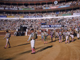 Antonio Ordonez and Luis Miguel Dominguin Greet Crowd Before a Mano Bullfight at Malaga Bullring