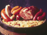 Choucroute Garni Meal of Sauerkraut: Kielbasa  Veal Sausage  Knackwurst  Pork Butt and Bratwurst