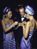 Fashion Designer Emilio Pucci with Young Women Wearing His Designs