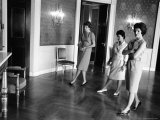 Jacqueline Kennedy and Aides Looking over Blue Room While in Process of Redecorating White House