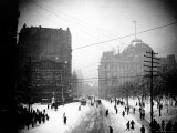 Downtown at 1:30 PM on Park Row During the Snow of the Blizzard of 1888