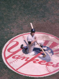 Portrait of Yankee Baseball Player Mickey Mantle Kneeling on the New York Yankee Emblem