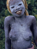 Girl of Bassa Tribe Covered in White Paint Signifies the End of Seclusion Following Circumcision