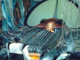 Actress Jane Fonda trapped in Machine which kills during scene from Roger Vadim&#39;s &quot;Barbarella&quot;