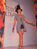 Model Christy Turlington Walking Runway for Designer Todd Oldham