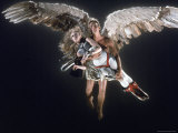 Actress Jane Fonda Being Carried by Guardian Angel in a Scene from Roger Vadim&#39;s Film &quot;Barbarella&quot;