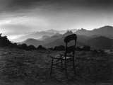 Santa Lucia Mountain Range Between Carmel and San Simeon with old chair abandoned in Cabin